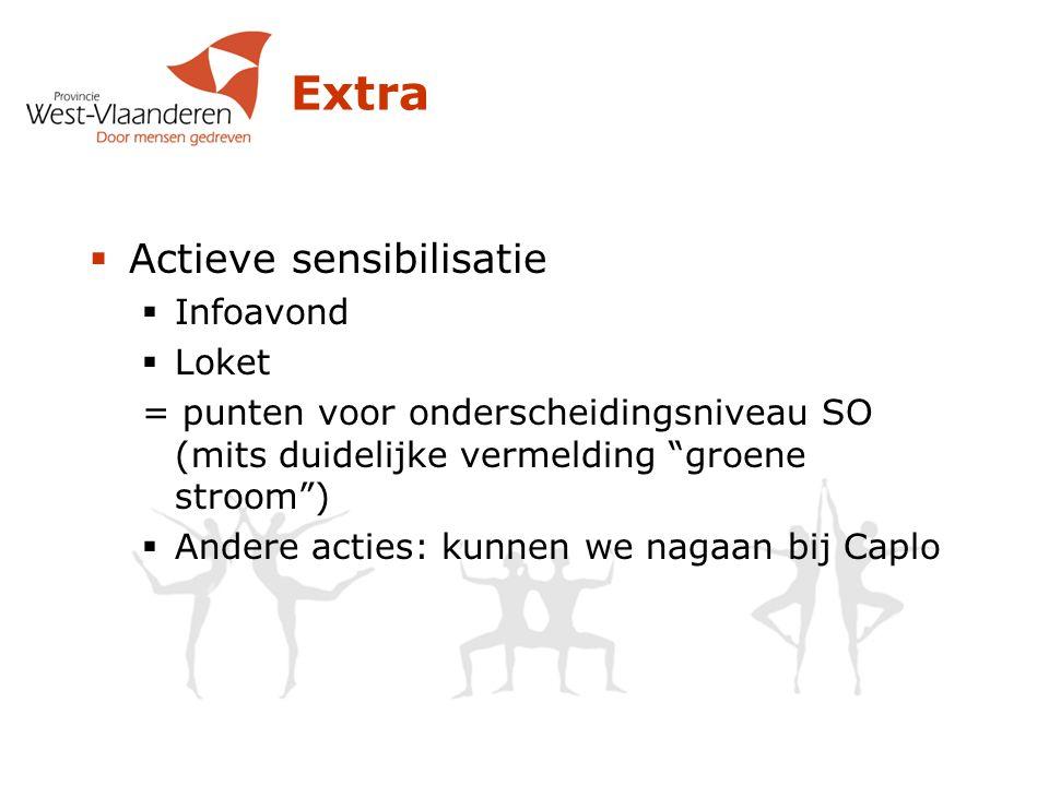 Extra  Actieve sensibilisatie  Infoavond  Loket = punten voor onderscheidingsniveau SO (mits duidelijke vermelding groene stroom )  Andere acties: kunnen we nagaan bij Caplo