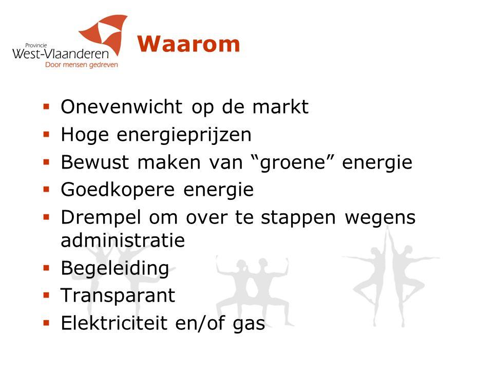  Onevenwicht op de markt  Hoge energieprijzen  Bewust maken van groene energie  Goedkopere energie  Drempel om over te stappen wegens administratie  Begeleiding  Transparant  Elektriciteit en/of gas Waarom