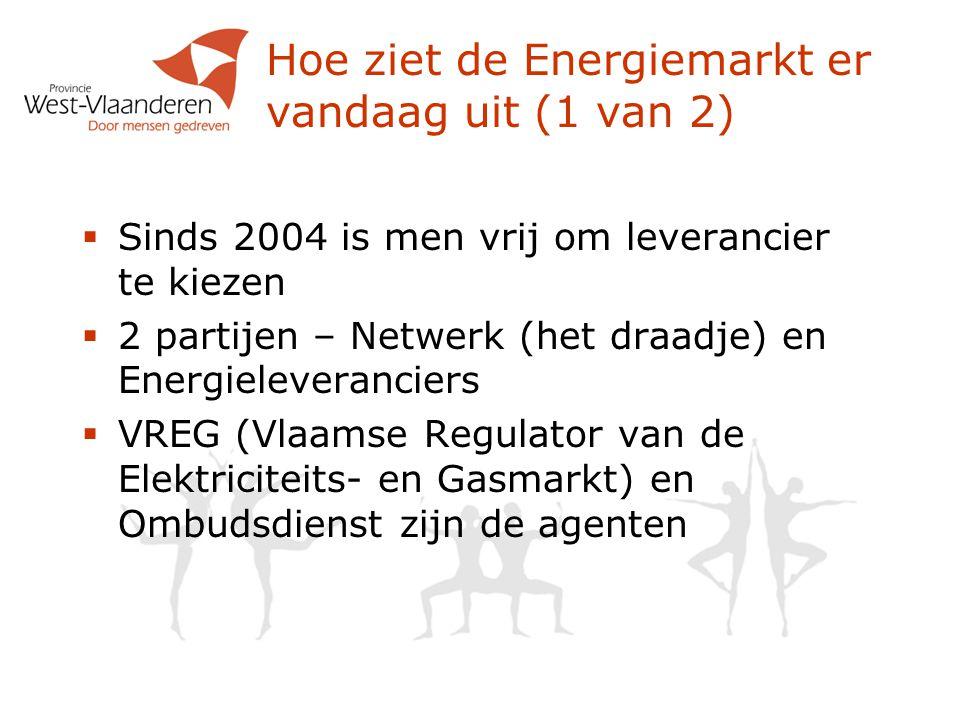 Hoe ziet de Energiemarkt er vandaag uit (1 van 2)  Sinds 2004 is men vrij om leverancier te kiezen  2 partijen – Netwerk (het draadje) en Energieleveranciers  VREG (Vlaamse Regulator van de Elektriciteits- en Gasmarkt) en Ombudsdienst zijn de agenten
