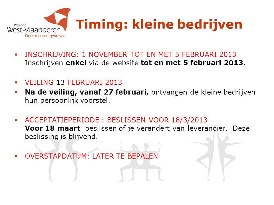 Timing: kleine bedrijven  INSCHRIJVING: 1 NOVEMBER TOT EN MET 5 FEBRUARI 2013 Inschrijven enkel via de website tot en met 5 februari 2013.