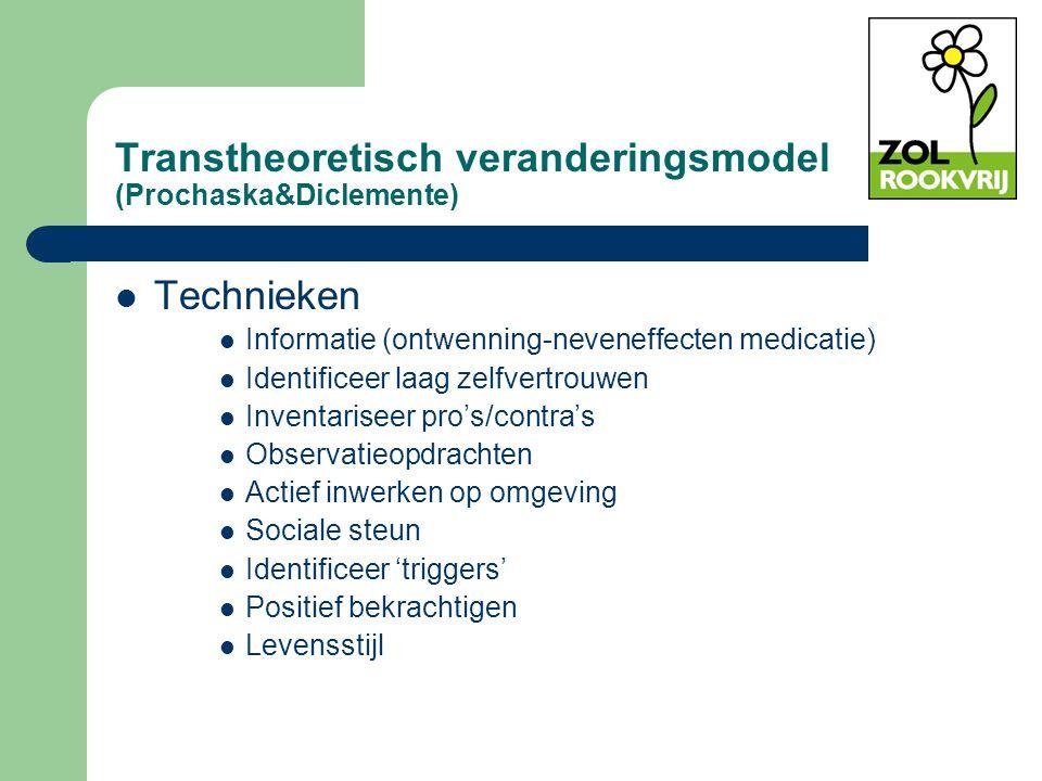 Transtheoretisch veranderingsmodel (Prochaska&Diclemente) Technieken Informatie (ontwenning-neveneffecten medicatie) Identificeer laag zelfvertrouwen