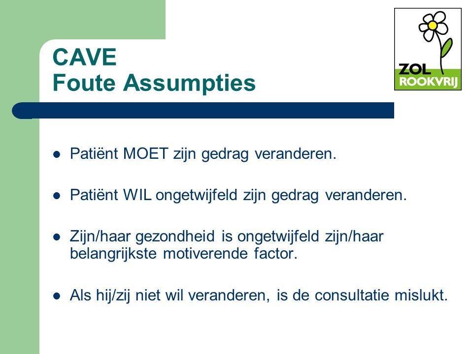 CAVE Foute Assumpties Patiënt MOET zijn gedrag veranderen. Patiënt WIL ongetwijfeld zijn gedrag veranderen. Zijn/haar gezondheid is ongetwijfeld zijn/