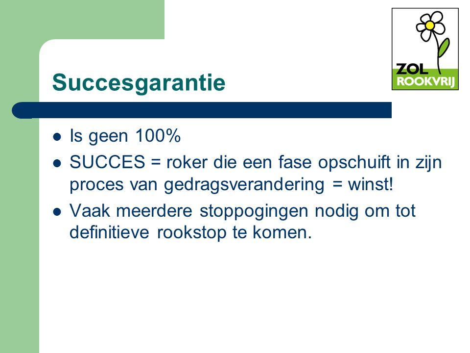 Succesgarantie Is geen 100% SUCCES = roker die een fase opschuift in zijn proces van gedragsverandering = winst! Vaak meerdere stoppogingen nodig om t