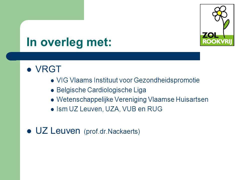In overleg met: VRGT VIG Vlaams Instituut voor Gezondheidspromotie Belgische Cardiologische Liga Wetenschappelijke Vereniging Vlaamse Huisartsen Ism U