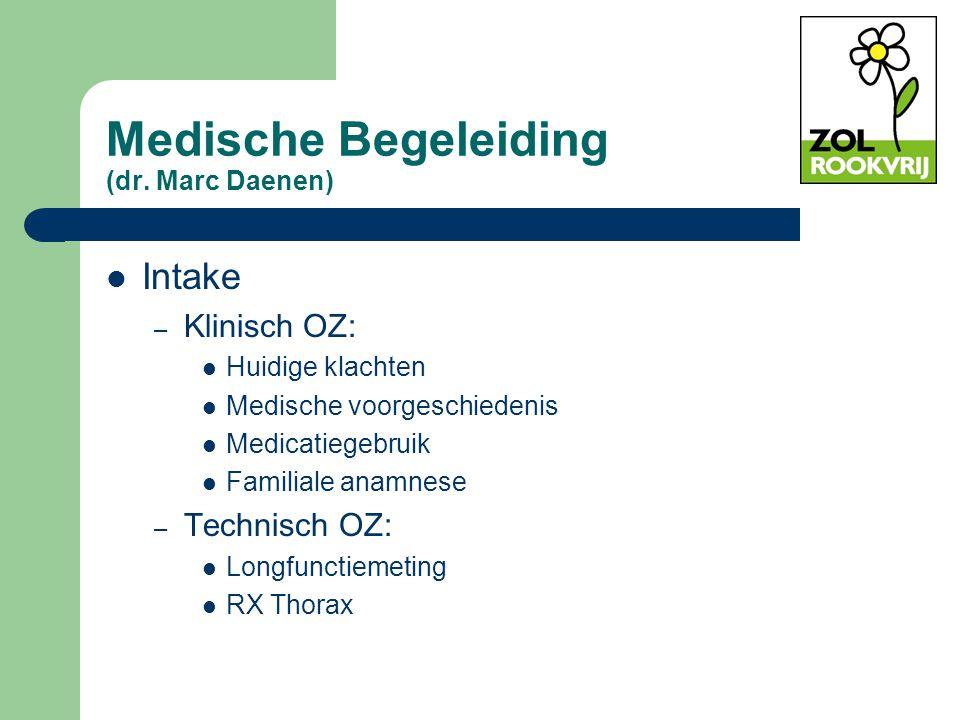 Medische Begeleiding (dr. Marc Daenen) Intake – Klinisch OZ: Huidige klachten Medische voorgeschiedenis Medicatiegebruik Familiale anamnese – Technisc