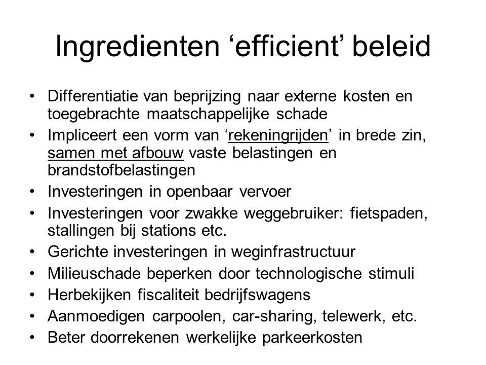 Ingredienten 'efficient' beleid Differentiatie van beprijzing naar externe kosten en toegebrachte maatschappelijke schade Impliceert een vorm van 'rek