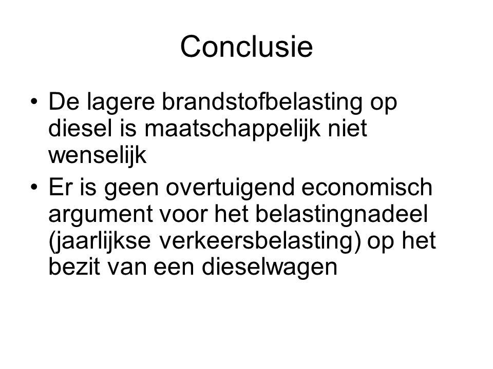 Conclusie De lagere brandstofbelasting op diesel is maatschappelijk niet wenselijk Er is geen overtuigend economisch argument voor het belastingnadeel