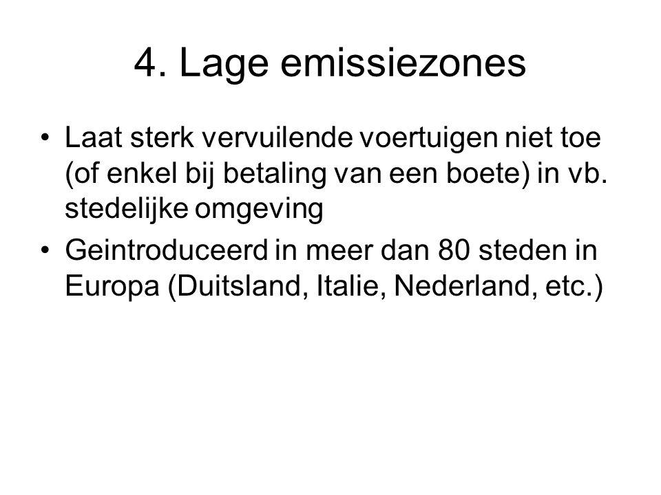 4. Lage emissiezones Laat sterk vervuilende voertuigen niet toe (of enkel bij betaling van een boete) in vb. stedelijke omgeving Geintroduceerd in mee