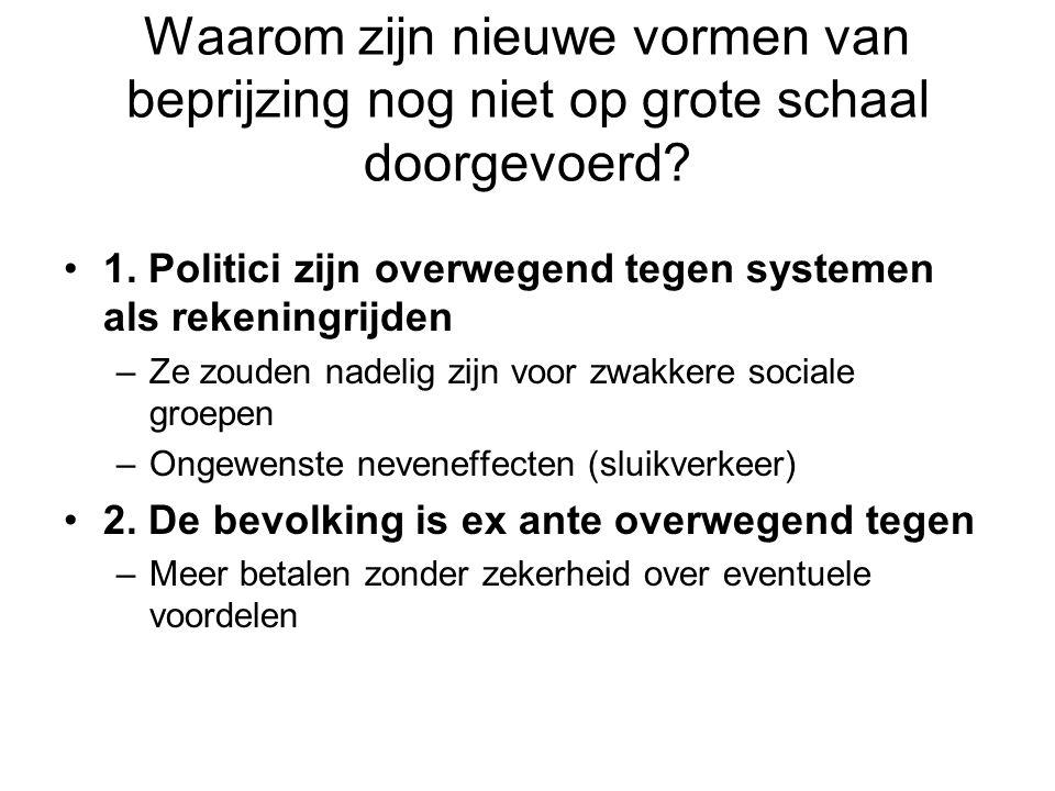 1. Politici zijn overwegend tegen systemen als rekeningrijden –Ze zouden nadelig zijn voor zwakkere sociale groepen –Ongewenste neveneffecten (sluikve