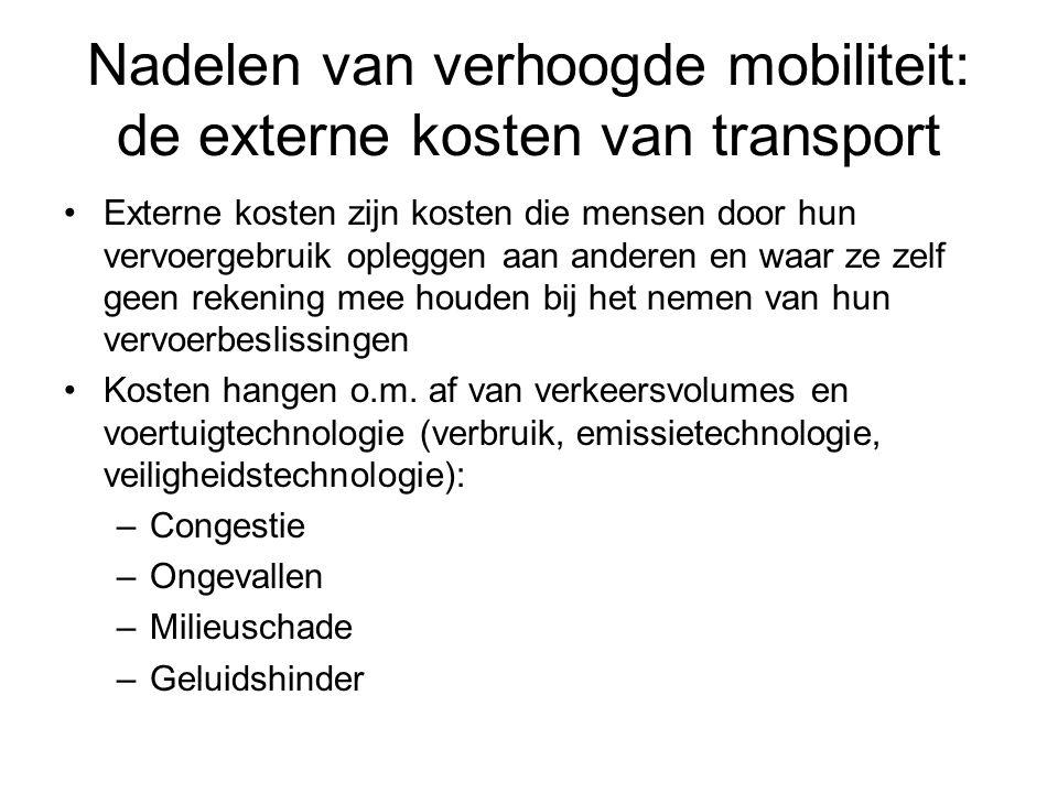 Nadelen van verhoogde mobiliteit: de externe kosten van transport Externe kosten zijn kosten die mensen door hun vervoergebruik opleggen aan anderen e