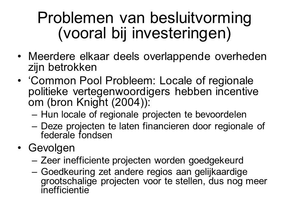 Problemen van besluitvorming (vooral bij investeringen) Meerdere elkaar deels overlappende overheden zijn betrokken 'Common Pool Probleem: Locale of r