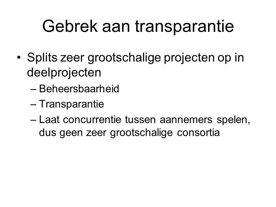 Gebrek aan transparantie Splits zeer grootschalige projecten op in deelprojecten –Beheersbaarheid –Transparantie –Laat concurrentie tussen aannemers s