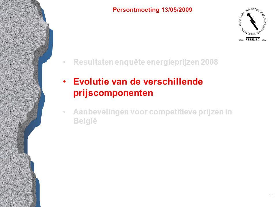 11 Resultaten enquête energieprijzen 2008 Evolutie van de verschillende prijscomponenten Aanbevelingen voor competitieve prijzen in België Persontmoeting 13/05/2009