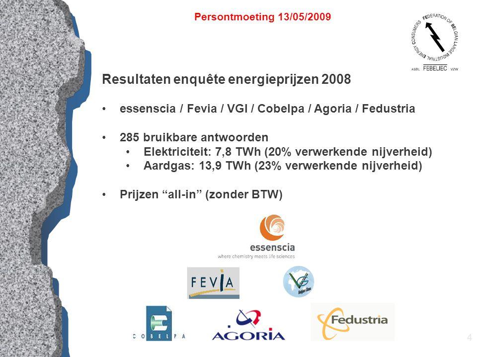 4 Resultaten enquête energieprijzen 2008 essenscia / Fevia / VGI / Cobelpa / Agoria / Fedustria 285 bruikbare antwoorden Elektriciteit: 7,8 TWh (20% verwerkende nijverheid) Aardgas: 13,9 TWh (23% verwerkende nijverheid) Prijzen all-in (zonder BTW) Persontmoeting 13/05/2009