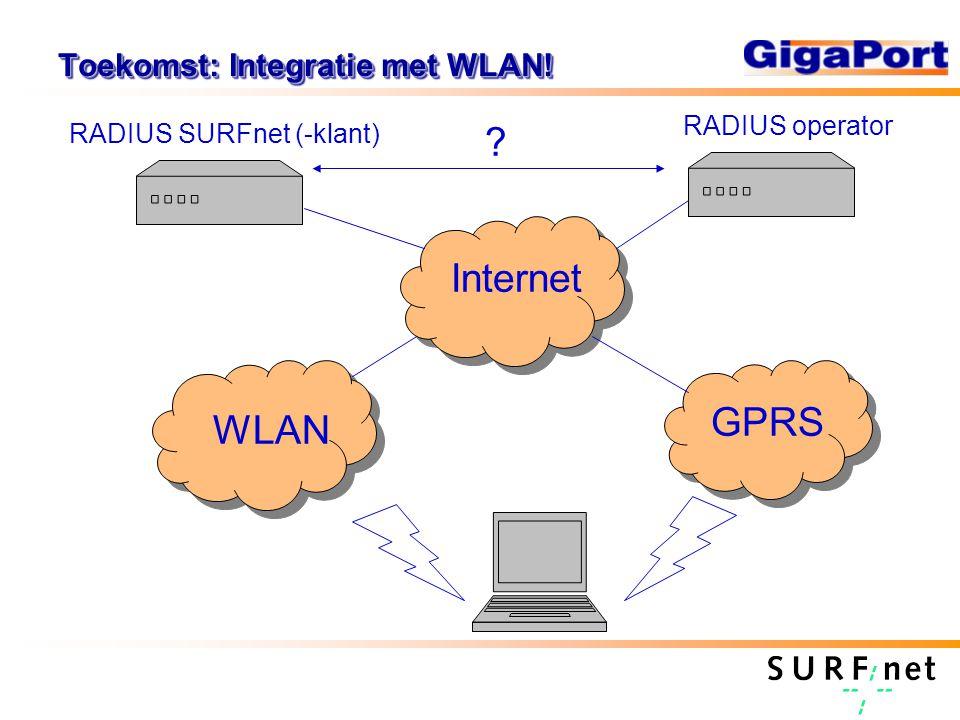 Toekomst: Integratie met WLAN! GPRS WLAN Internet RADIUS operator RADIUS SURFnet (-klant) ?