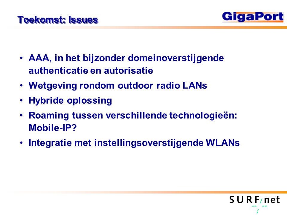 Toekomst: Issues AAA, in het bijzonder domeinoverstijgende authenticatie en autorisatie Wetgeving rondom outdoor radio LANs Hybride oplossing Roaming tussen verschillende technologieën: Mobile-IP.