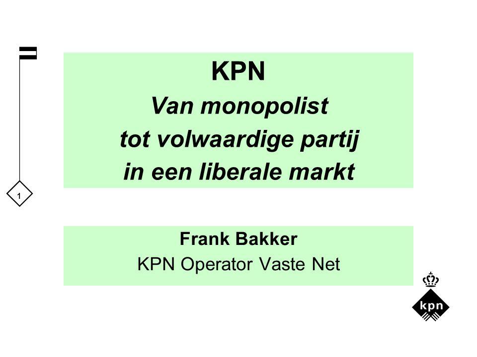 1 KPN Van monopolist tot volwaardige partij in een liberale markt Frank Bakker KPN Operator Vaste Net
