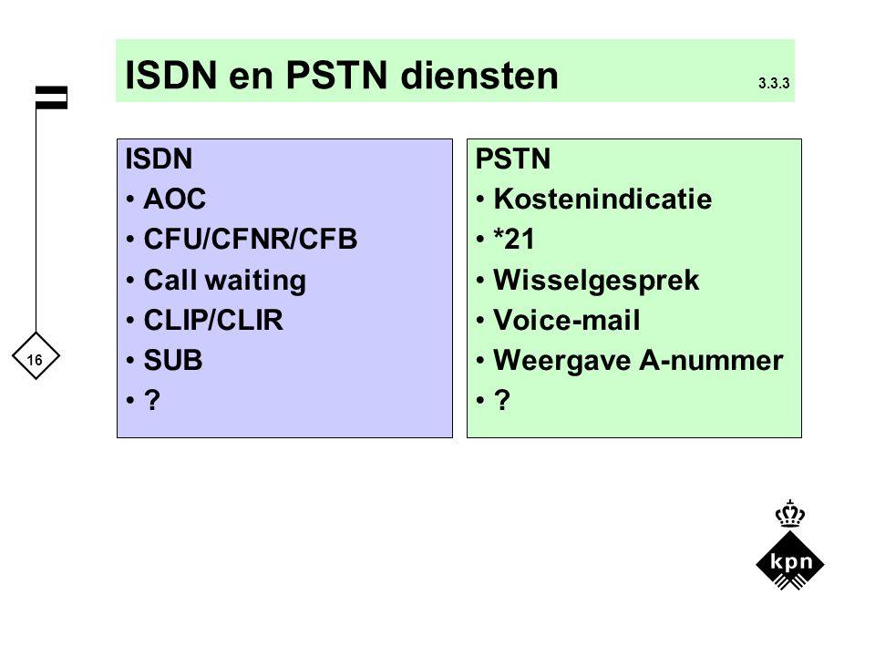 16 ISDN en PSTN diensten 3.3.3 PSTN Kostenindicatie *21 Wisselgesprek Voice-mail Weergave A-nummer ? ISDN AOC CFU/CFNR/CFB Call waiting CLIP/CLIR SUB