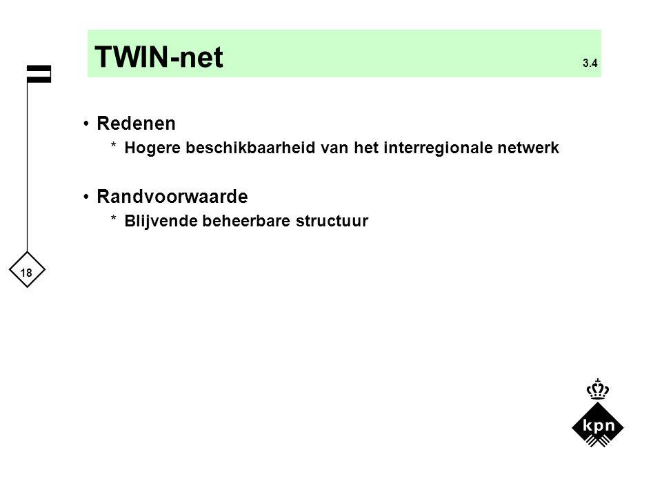18 TWIN-net 3.4 Redenen *Hogere beschikbaarheid van het interregionale netwerk Randvoorwaarde *Blijvende beheerbare structuur