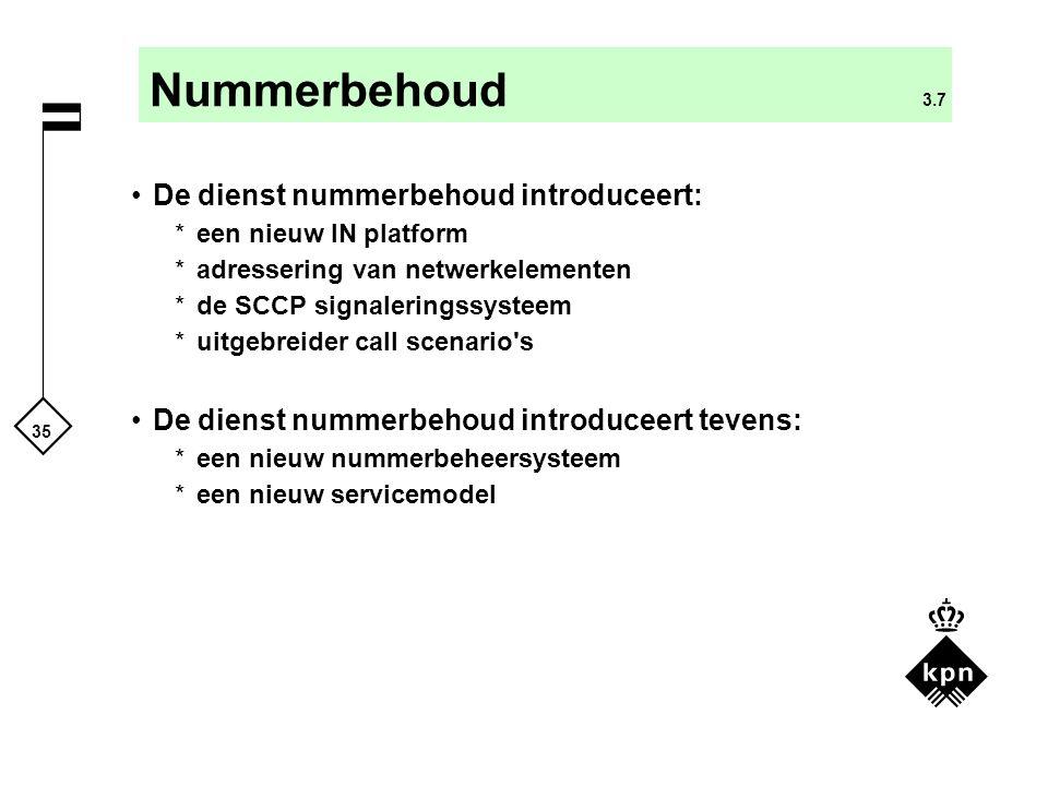 35 Nummerbehoud 3.7 De dienst nummerbehoud introduceert: *een nieuw IN platform *adressering van netwerkelementen *de SCCP signaleringssysteem *uitgeb