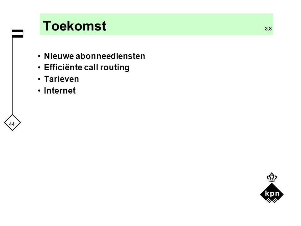 44 Toekomst 3.8 Nieuwe abonneediensten Efficiënte call routing Tarieven Internet