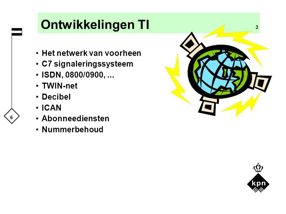 6 Ontwikkelingen TI 3 Het netwerk van voorheen C7 signaleringssysteem ISDN, 0800/0900,... TWIN-net Decibel ICAN Abonneediensten Nummerbehoud