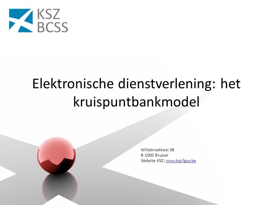 Willebroekkaai 38 B-1000 Brussel Website KSZ: www.ksz.fgov.bewww.ksz.fgov.be Elektronische dienstverlening: het kruispuntbankmodel