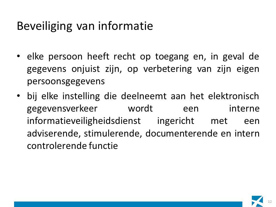 Beveiliging van informatie elke persoon heeft recht op toegang en, in geval de gegevens onjuist zijn, op verbetering van zijn eigen persoonsgegevens b
