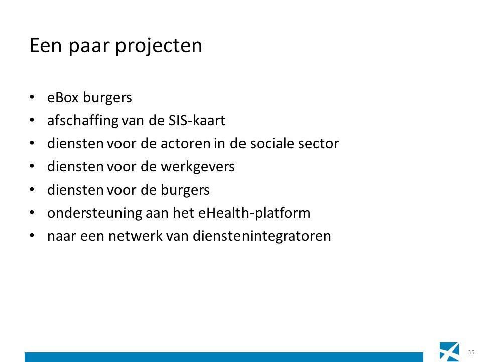 Een paar projecten eBox burgers afschaffing van de SIS-kaart diensten voor de actoren in de sociale sector diensten voor de werkgevers diensten voor d