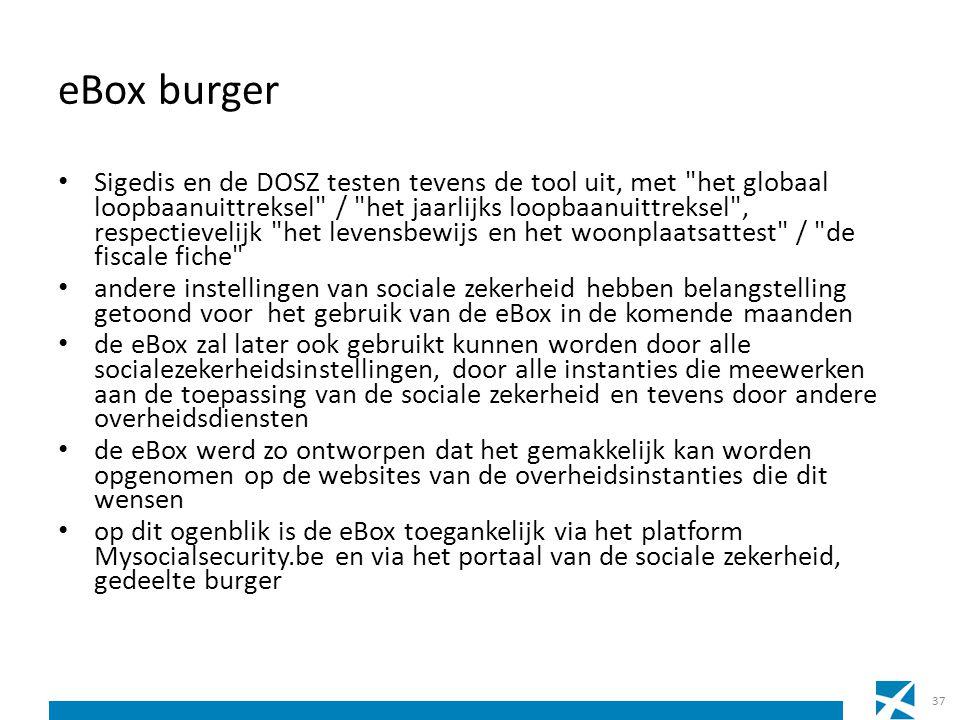 eBox burger Sigedis en de DOSZ testen tevens de tool uit, met