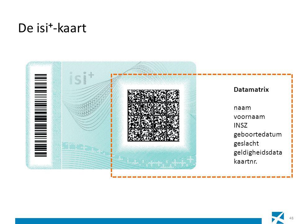 De isi + -kaart 48 Datamatrix naam voornaam INSZ geboortedatum geslacht geldigheidsdata kaartnr.