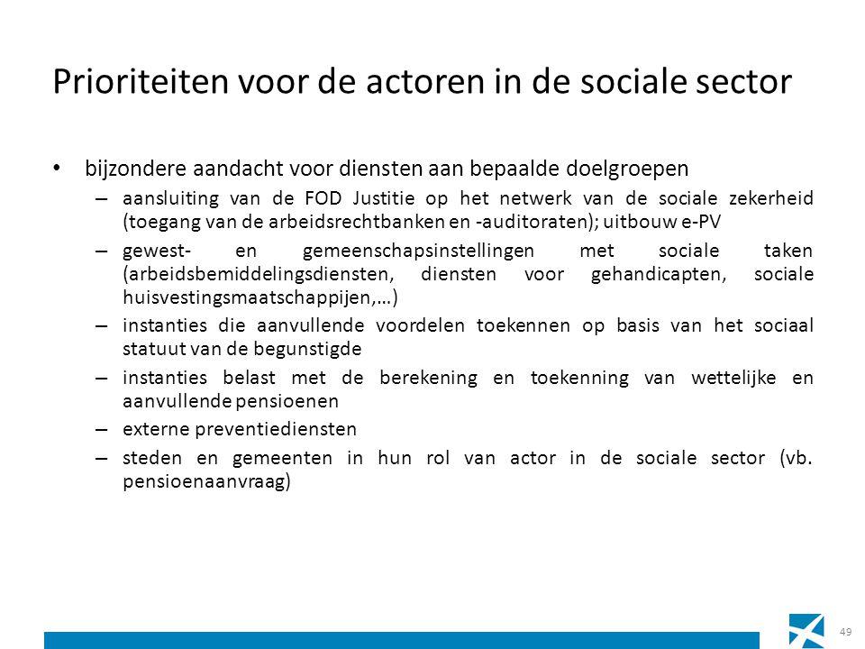 Prioriteiten voor de actoren in de sociale sector bijzondere aandacht voor diensten aan bepaalde doelgroepen – aansluiting van de FOD Justitie op het