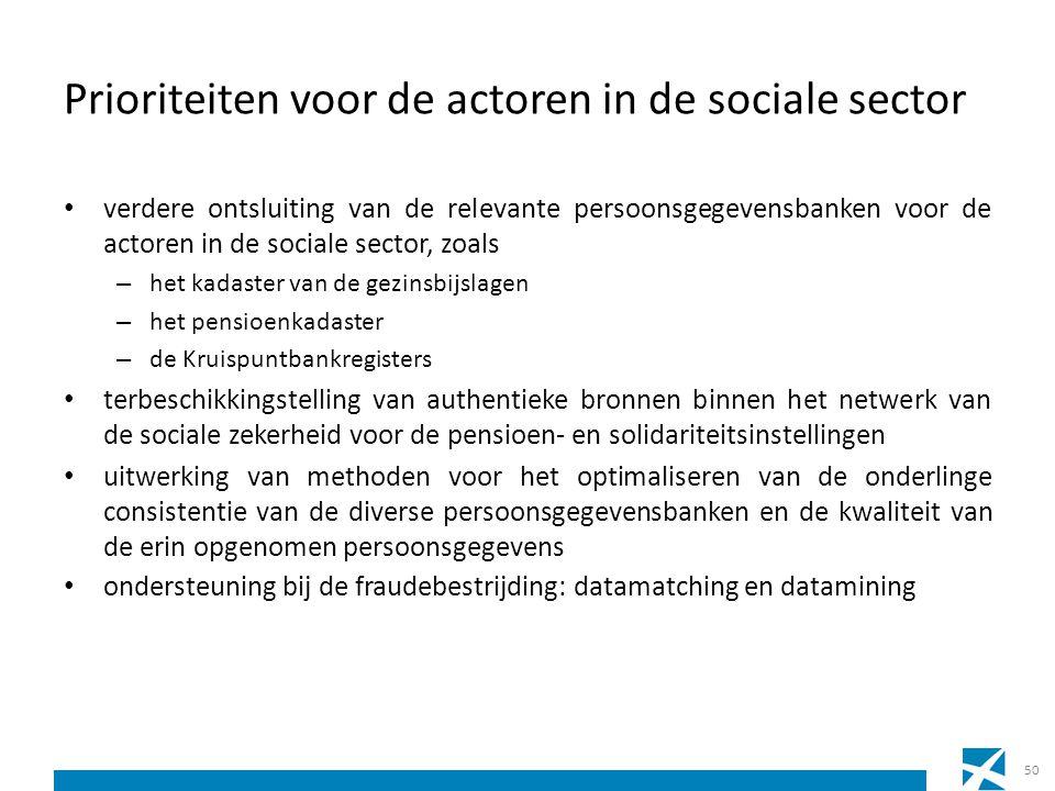 Prioriteiten voor de actoren in de sociale sector verdere ontsluiting van de relevante persoonsgegevensbanken voor de actoren in de sociale sector, zo