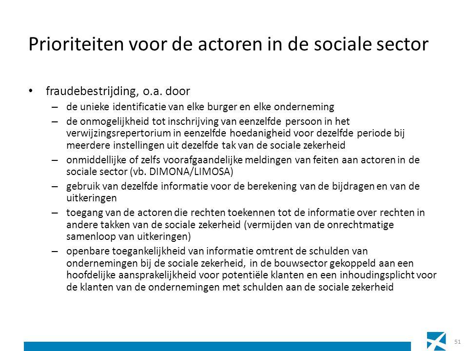 Prioriteiten voor de actoren in de sociale sector fraudebestrijding, o.a. door – de unieke identificatie van elke burger en elke onderneming – de onmo