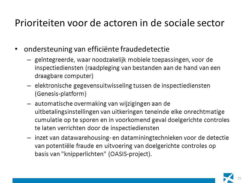 Prioriteiten voor de actoren in de sociale sector ondersteuning van efficiënte fraudedetectie – geïntegreerde, waar noodzakelijk mobiele toepassingen,