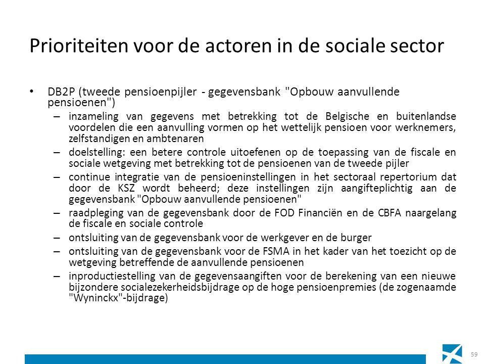 Prioriteiten voor de actoren in de sociale sector DB2P (tweede pensioenpijler - gegevensbank