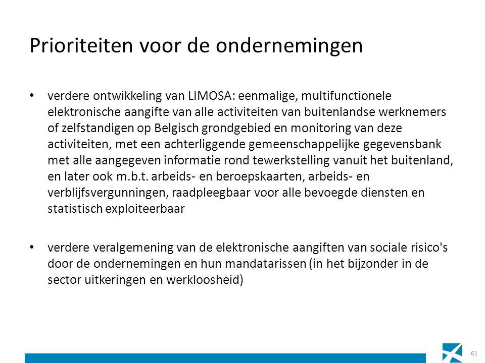Prioriteiten voor de ondernemingen verdere ontwikkeling van LIMOSA: eenmalige, multifunctionele elektronische aangifte van alle activiteiten van buite