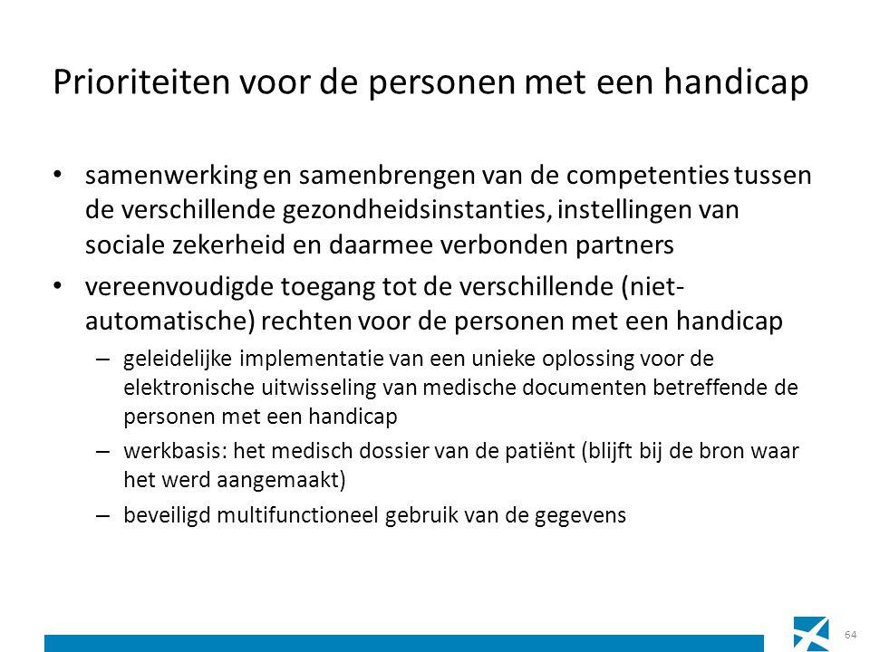 Prioriteiten voor de personen met een handicap samenwerking en samenbrengen van de competenties tussen de verschillende gezondheidsinstanties, instell