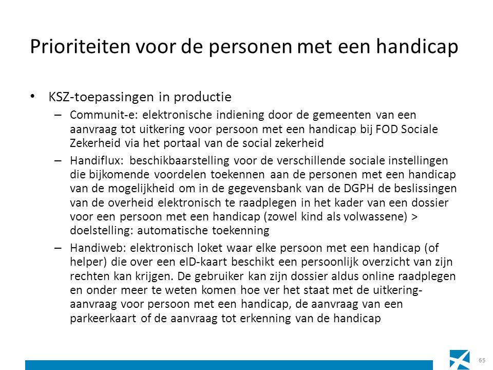Prioriteiten voor de personen met een handicap KSZ-toepassingen in productie – Communit-e: elektronische indiening door de gemeenten van een aanvraag
