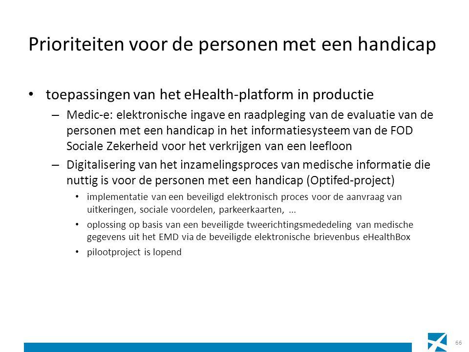 Prioriteiten voor de personen met een handicap toepassingen van het eHealth-platform in productie – Medic-e: elektronische ingave en raadpleging van d
