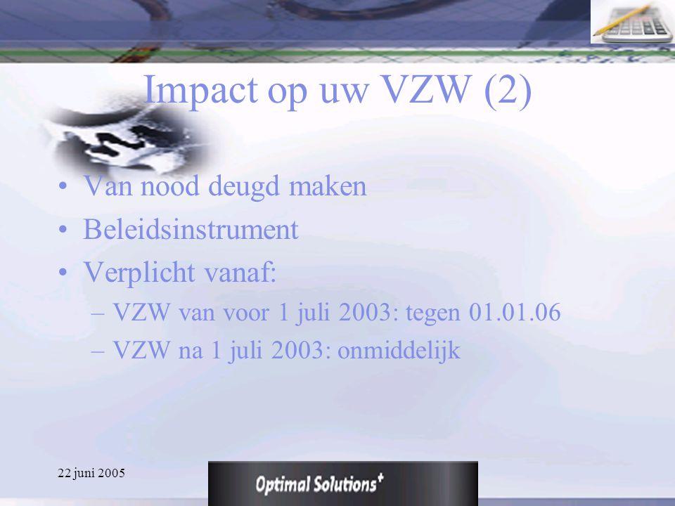 22 juni 2005 Impact op uw VZW (2) Van nood deugd maken Beleidsinstrument Verplicht vanaf: –VZW van voor 1 juli 2003: tegen 01.01.06 –VZW na 1 juli 200
