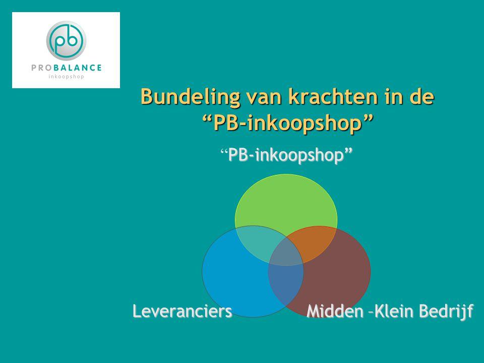 Bundeling van krachten in de PB-inkoopshop PB- inkoopshop PB- inkoopshop Midden – Klein Bedrijf Leveranciers