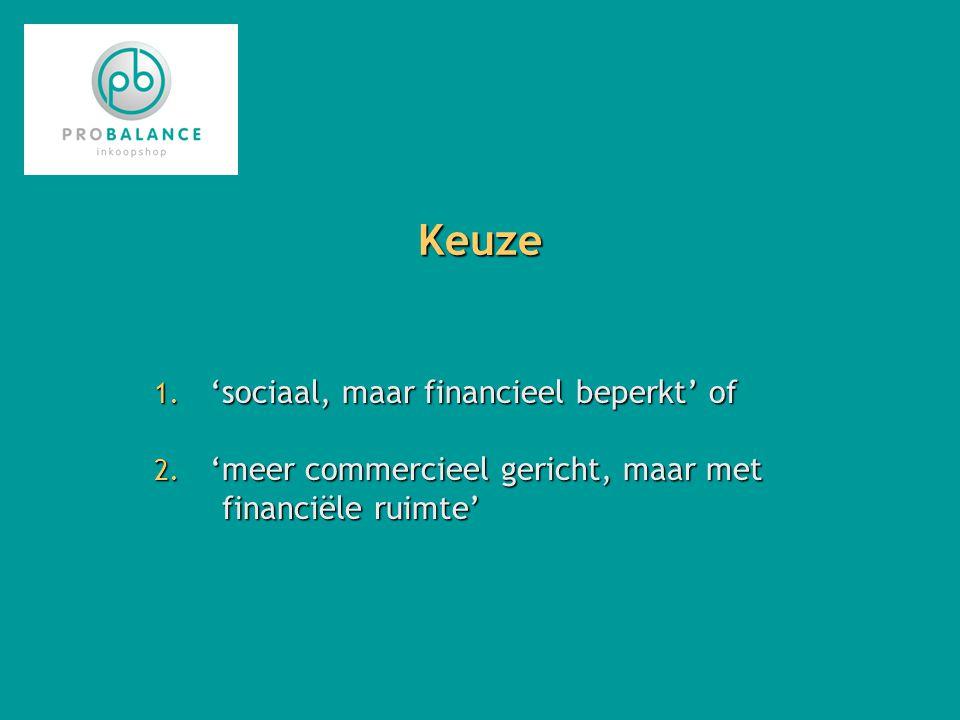 Keuze 1. 'sociaal, maar financieel beperkt' of 2.