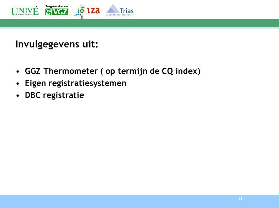 11 Invulgegevens uit: GGZ Thermometer ( op termijn de CQ index) Eigen registratiesystemen DBC registratie