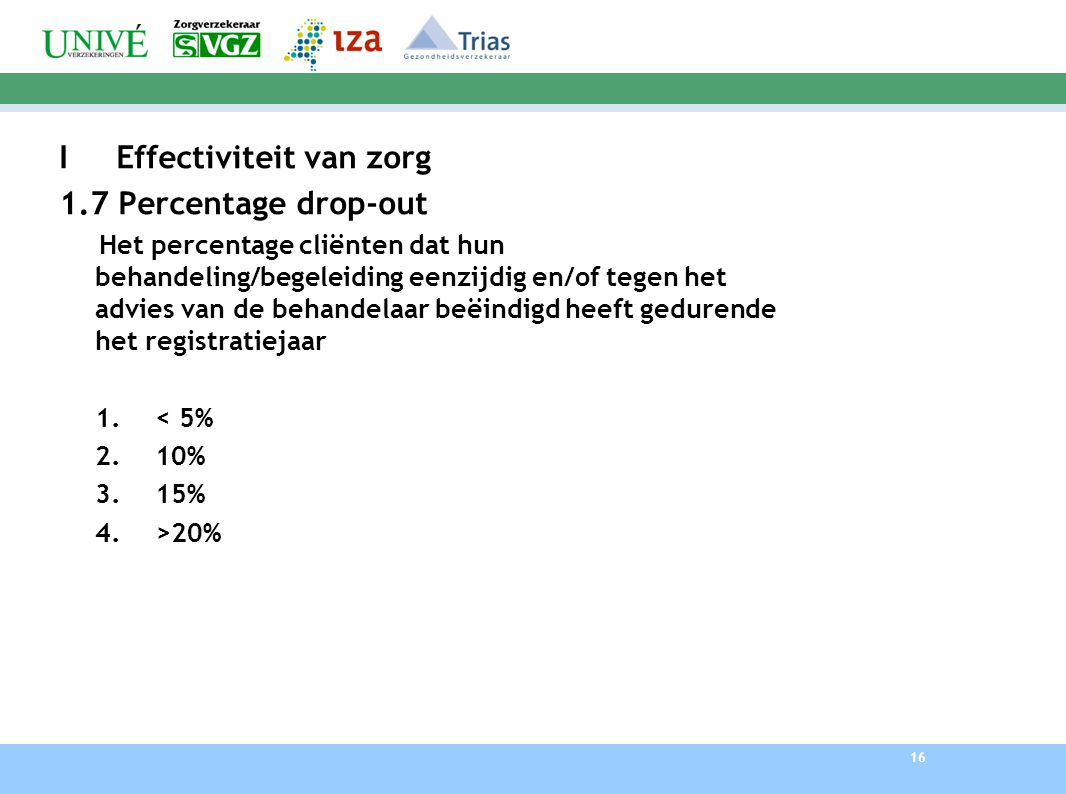 16 I Effectiviteit van zorg 1.7 Percentage drop-out Het percentage cliënten dat hun behandeling/begeleiding eenzijdig en/of tegen het advies van de behandelaar beëindigd heeft gedurende het registratiejaar 1.< 5% 2.10% 3.15% 4.>20%
