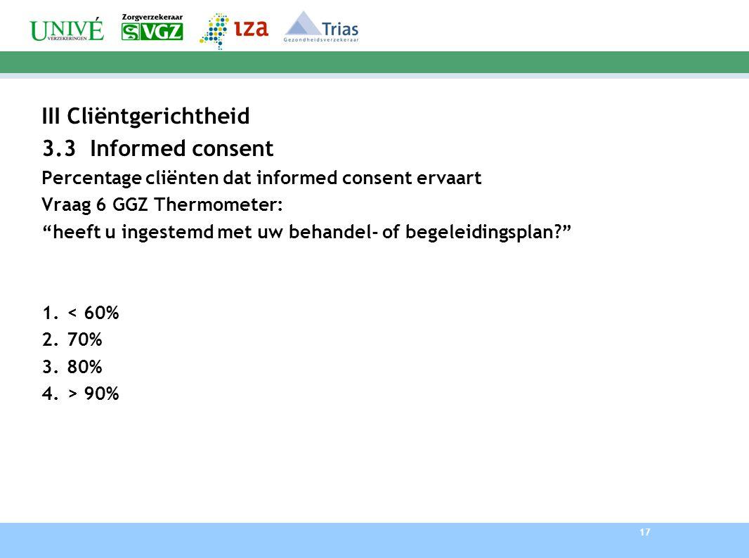 17 IIICliëntgerichtheid 3.3 Informed consent Percentage cliënten dat informed consent ervaart Vraag 6 GGZ Thermometer: heeft u ingestemd met uw behandel- of begeleidingsplan? 1.< 60% 2.70% 3.80% 4.> 90%