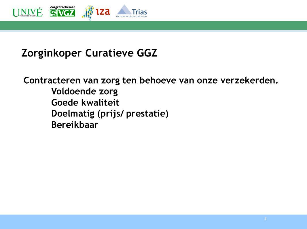 3 Zorginkoper Curatieve GGZ Contracteren van zorg ten behoeve van onze verzekerden.