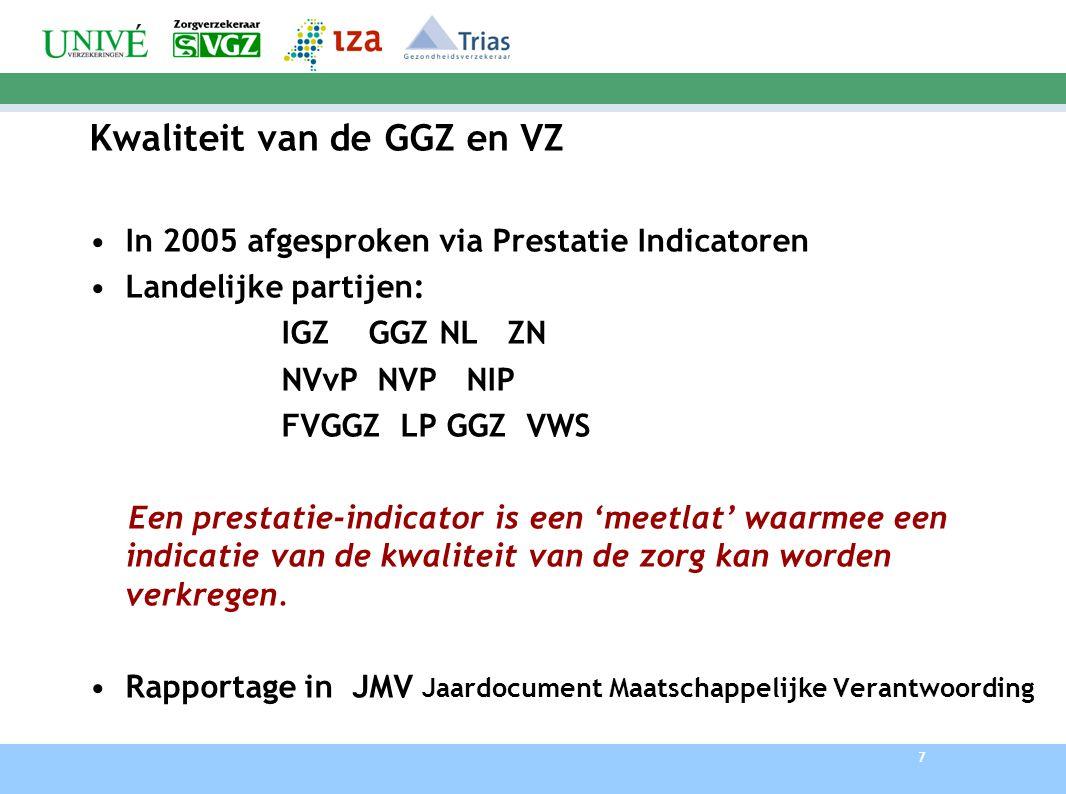 7 Kwaliteit van de GGZ en VZ In 2005 afgesproken via Prestatie Indicatoren Landelijke partijen: IGZ GGZ NL ZN NVvP NVP NIP FVGGZ LP GGZ VWS Een prestatie-indicator is een 'meetlat' waarmee een indicatie van de kwaliteit van de zorg kan worden verkregen.
