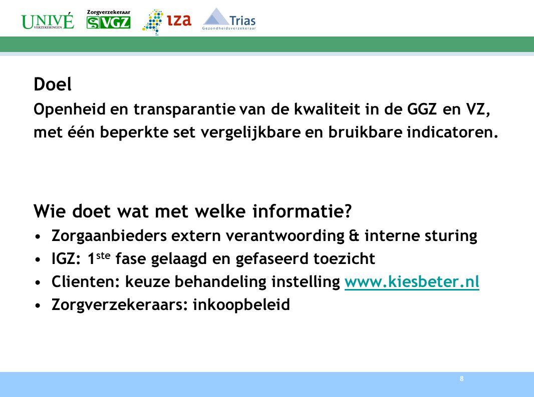 8 Doel Openheid en transparantie van de kwaliteit in de GGZ en VZ, met één beperkte set vergelijkbare en bruikbare indicatoren. Wie doet wat met welke