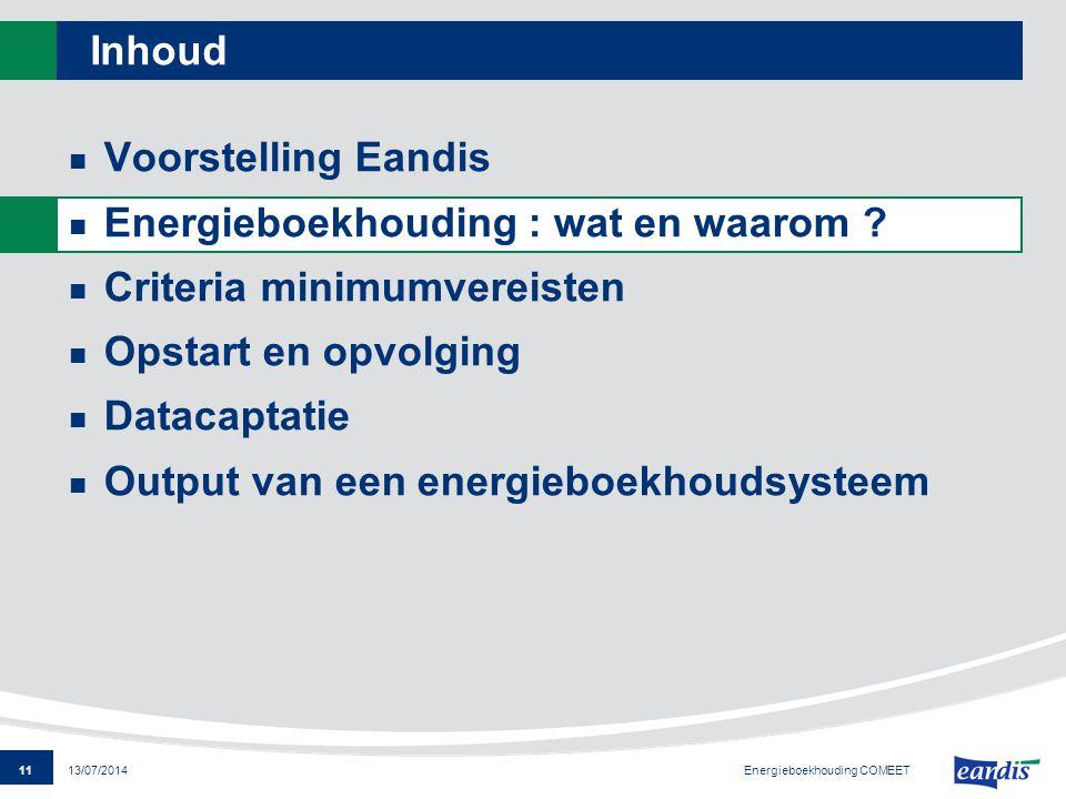 11 13/07/2014 Inhoud Voorstelling Eandis Energieboekhouding : wat en waarom ? Criteria minimumvereisten Opstart en opvolging Datacaptatie Output van e